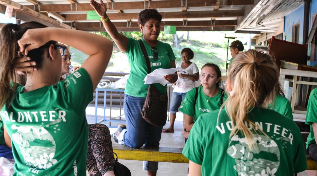 Volunteers are gathering for a workshop lead by local staff at the Teaching Project in Fiji